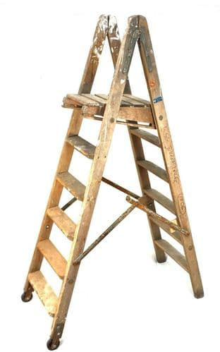 Antique Drew Clark & Co Diamond Step Ladder / Decorators / Fold Away / Vintage
